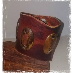 Industrial Chic Wide Leather Cuff Bracelet Unisex